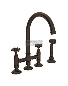 Nicolazzi - 1460WS Exposed Kitchen Tap Sink Mixer with Gooseneck Swivel Spout & Handspray in Tuscan Brass with Half Dome Handles