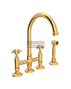 Nicolazzi - 1460WS Exposed Kitchen Tap Sink Mixer with Gooseneck Swivel Spout & Handspray in Gold with Half Dome Handles