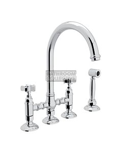 Nicolazzi - 1460WS Exposed Kitchen Tap Sink Mixer with Gooseneck Swivel Spout & Handspray in Chrome with Dame Anglaises Handles