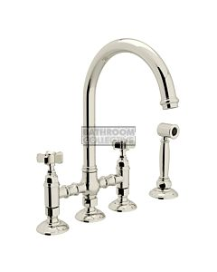 Nicolazzi - 1460WS Exposed Kitchen Tap Sink Mixer with Gooseneck Swivel Spout & Handspray in Polished Nickel with Dame Anglaises Handles