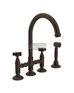Nicolazzi - 1460WS Exposed Kitchen Tap Sink Mixer with Gooseneck Swivel Spout & Handspray in Tuscan Brass with Dame Anglaises Handles