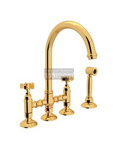 Nicolazzi - 1460WS Exposed Kitchen Tap Sink Mixer with Gooseneck Swivel Spout & Handspray in Gold with Dame Anglaises Handles