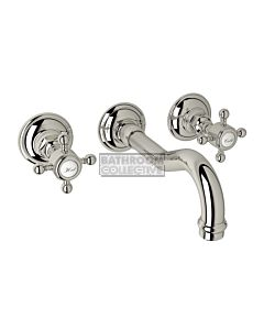 Nicolazzi - 1477 Wall Mounted Bath Tap Set, 185mm Spout in Polished Nickel with Half Dome Handles