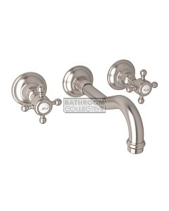 Nicolazzi - 1477 Wall Mounted Basin Tap Set, 185mm Spout in Satin Nickel with Half Dome Handles