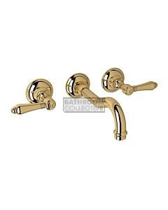 Nicolazzi - 1477 Wall Mounted Bath Tap Set, 185mm Spout in Gold with El Capitan Handles