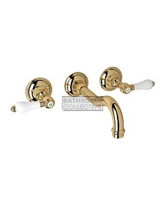 Nicolazzi - 1477 Wall Mounted Bath Tap Set, 185mm Spout in Gold with Petite Mont Blanc Handles