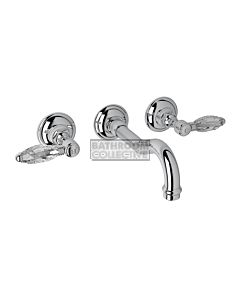 Nicolazzi - 1477 Wall Mounted Basin Tap Set, 185mm Spout in Chrome with Crystal Lever Handles