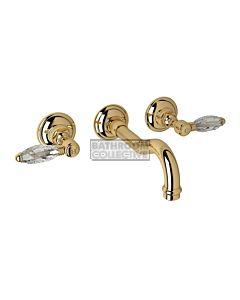 Nicolazzi - 1477 Wall Mounted Bath Tap Set, 185mm Spout in Gold with Crystal Lever Handles