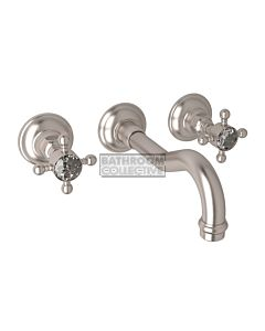 Nicolazzi - 1477 Wall Mounted Bath Tap Set, 185mm Spout in Satin Nickel with Crystal Half Dome Handles