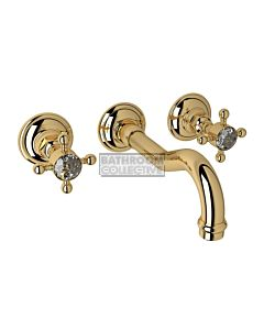 Nicolazzi - 1477 Wall Mounted Basin Tap Set, 185mm Spout in Gold with Crystal Half Dome Handles