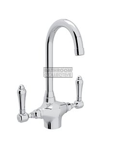 Nicolazzi - 2606 Kitchen Twinner Tap Sink Mixer with Gooseneck Swivel Spout in Chrome with El Capitan Lever Handles