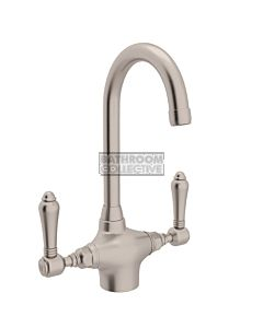 Nicolazzi - 2606 Kitchen Twinner Tap Sink Mixer with Gooseneck Swivel Spout in Brushed Nickel with El Capitan Lever Handles
