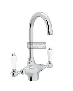 Nicolazzi - 2606 Kitchen Twinner Tap Sink Mixer with Gooseneck Swivel Spout in Chrome with Petite Mont Blanc Lever Handles