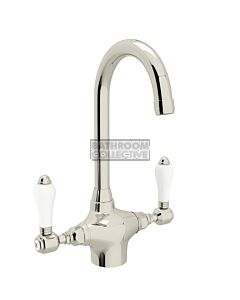 Nicolazzi - 2606 Kitchen Twinner Tap Sink Mixer with Gooseneck Swivel Spout in Polished Nickel with Petite Mont Blanc Lever Handles