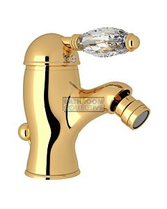Nicolazzi - 3403 Bidet Mixer Tap with Pop Up Waste in Gold with Crystal Handle