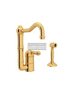 Nicolazzi - 3407WS Kitchen Sink Mixer with Off-set Traditional Swivel Spout & Handspray in Gold with El Capitan Handles