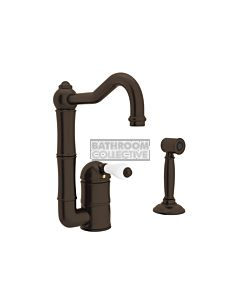 Nicolazzi - 3407WS Kitchen Sink Mixer with Off-set Traditional Swivel Spout & Handspray in Tuscan Brass with Petite Mont Blanc Handles