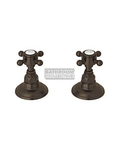 Nicolazzi - 1412 Wall / Deck Mounted Taps Pair in Tuscan Brass with Half Dome Handles