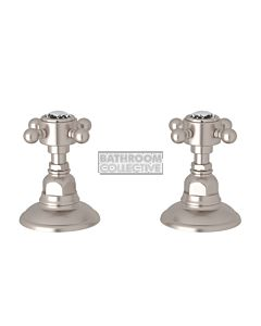 Nicolazzi - 1412 Wall / Deck Mounted Taps Pair in Brushed Nickel with Crystal Half Dome Handles