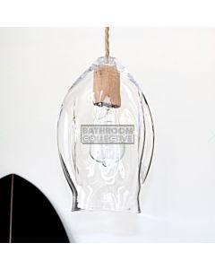 Soktas - Volt Large Hand Blown Pendant Light, Clear Glass, Wood Fitting